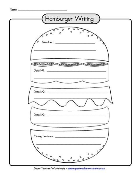 hamburger template printable hamburger graphic organizer writing paragraph links to a