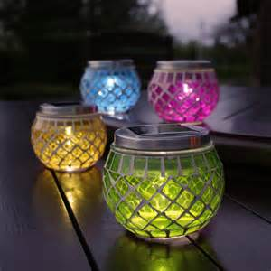 Solar Patio Table Lights New Festive Lights 4x Rechargable Glass Mosaic Jars Solar Garden Table Lanterns Ebay