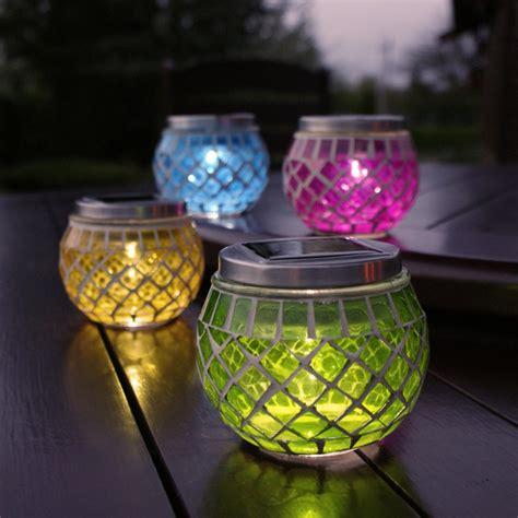 mosaic solar lights new festive lights 4x rechargable glass mosaic jars solar