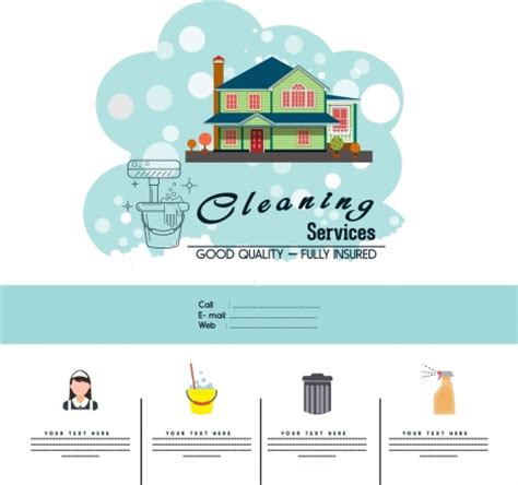 cleaning service advertisement template household icons