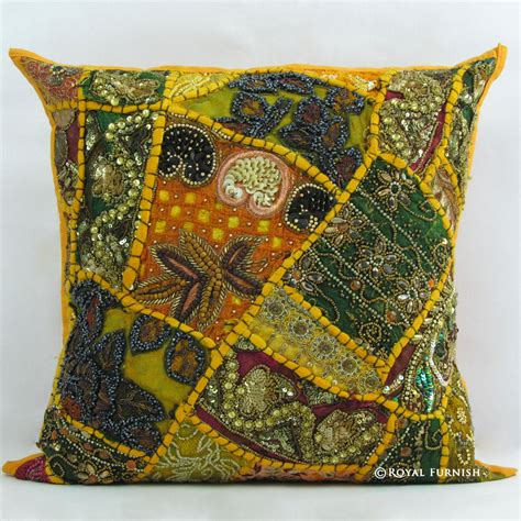 beaded throw pillows yellow indian beaded embroidered patchwork accent throw
