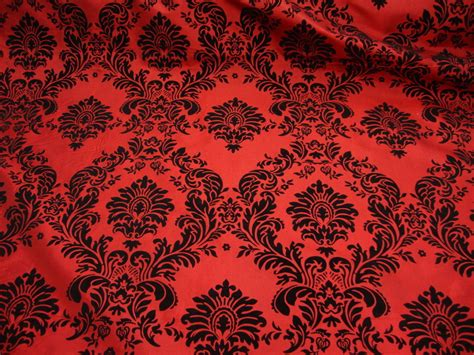 red damask upholstery fabric 15 yards red and black flocking damask taffeta fabric 58