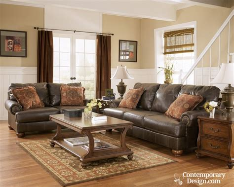 Living Room With Brown Leather Sofa Living Room Paint Color Ideas With Brown Furniture