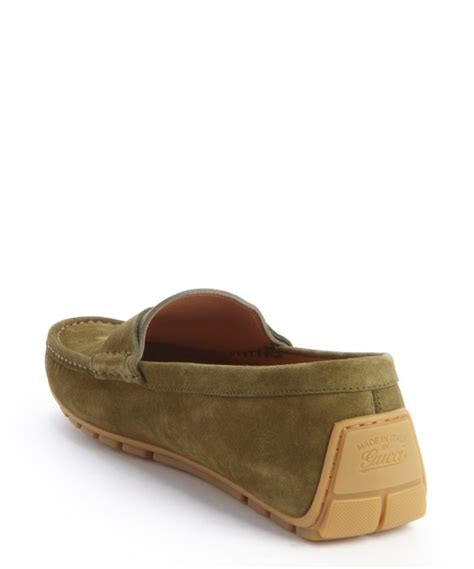Slip On Els Gucci Hitam gucci parsley suede driver loafers in green for lyst