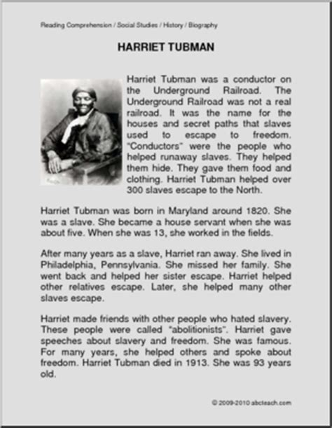 harriet tubman biography and questions biography harriet tubman primary elem abcteach