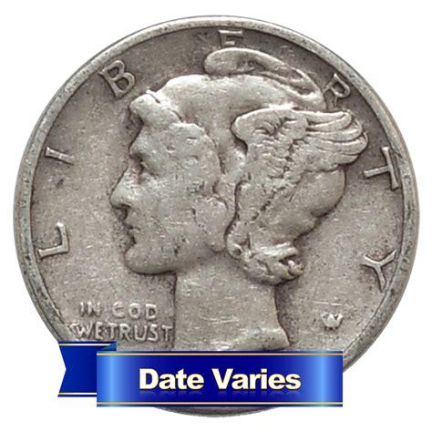 1916 1945 90 silver mercury dimes average circulated 1 face value ebay