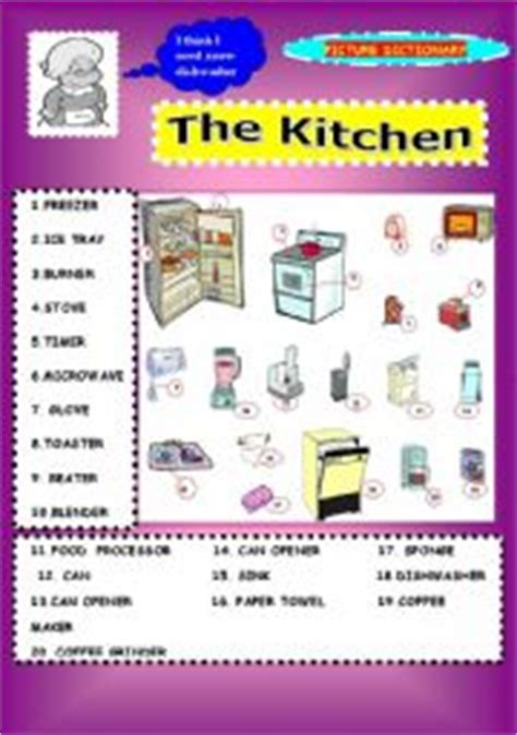 dictionary kitchen teaching worksheets in the kitchen