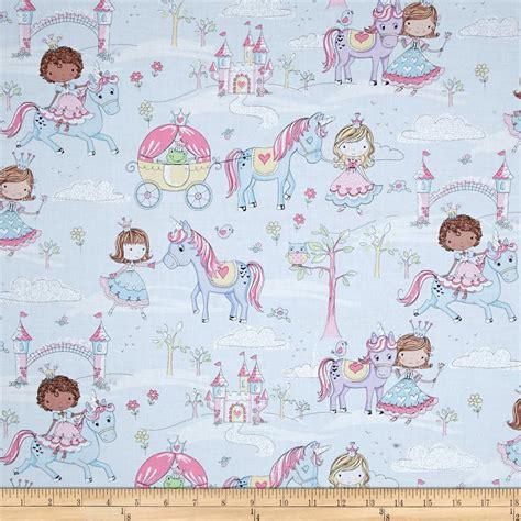 unicorn pattern fabric timeless treasures glitter princess unicorns blue