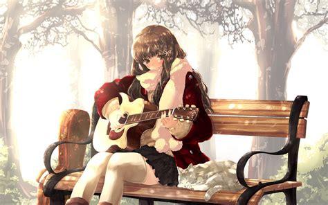 girls bench anime girl sitting on bench wallpapers 1680x1050 438314