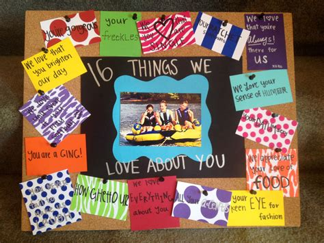 themes we love sweet 16 birthday gift idea quot 16 things we love about you