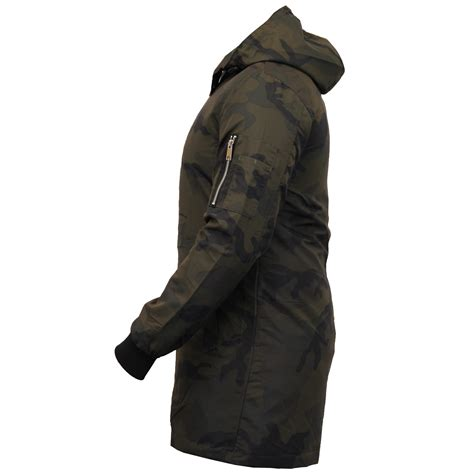 Hooded Trench Jacket mens camo jacket brave soul hooded mac trench coat