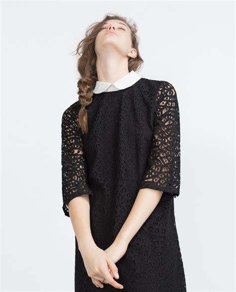 Dress Zara Black Lace zara lace dress in black lyst