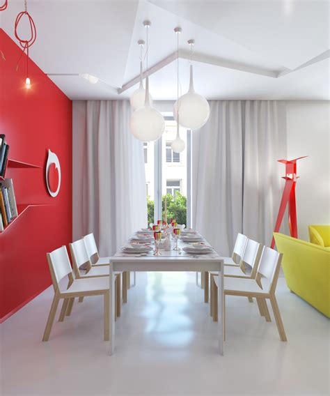 colorful modern apartment design uses space to beautiful red white dining room interior design ideas