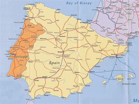 printable map portugal road map of portugal and spain portugal and spain road
