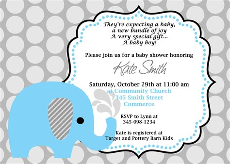 Printable Blue Elephant Baby Shower Invitation Customized Elephant Baby Shower Invitations Templates