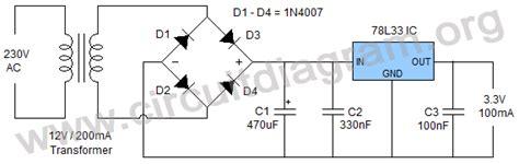 3v power supply circuit diagram 3 3v dc power supply using l78l33 ic circuit diagram