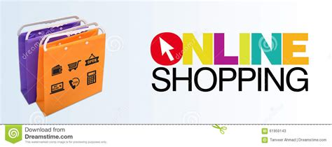 werkstatt banner shopping banner with bags and icons stock image