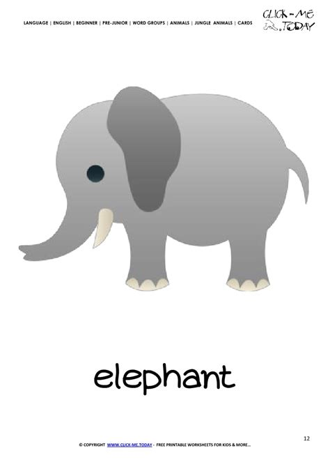 free template for name card elephant jungle animal flashcard elephant printable card of elephant