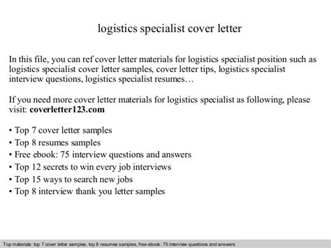 Logistics Technician Cover Letter by Logistics Specialist Cover Letter
