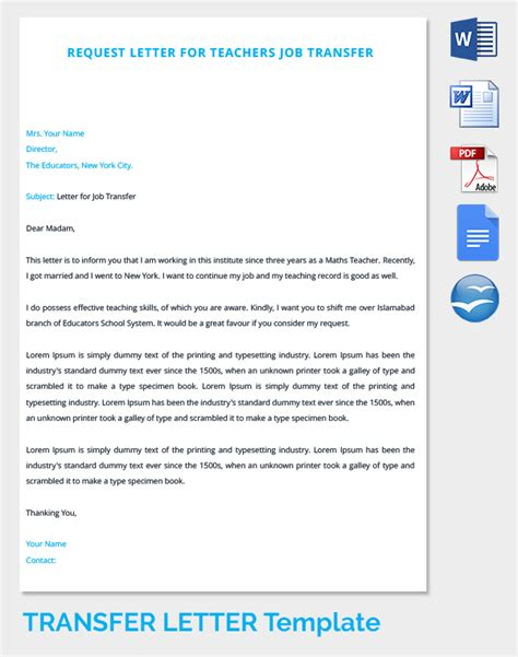 Transfer Letter For School 39 Transfer Letter Templates Free Sle Exle