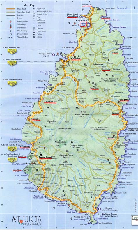 map st islands st lucia