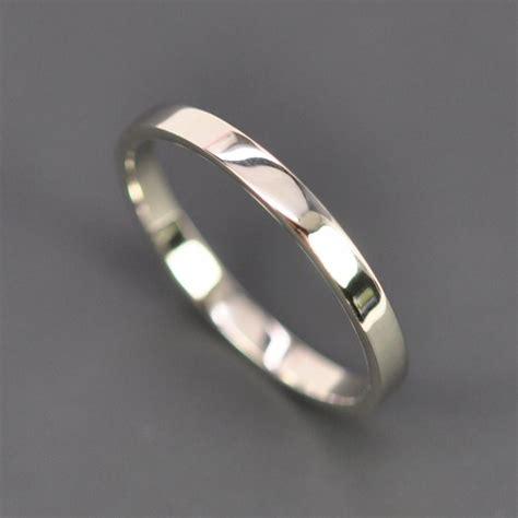 2mm palladium wedding band white gold wedding band 2mm by 1mm flat edge ring 14k