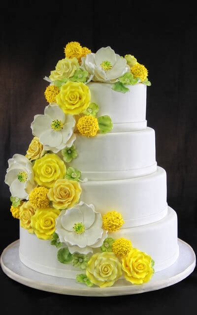 yellow magnolia wedding cake butterfly bake shop in new york