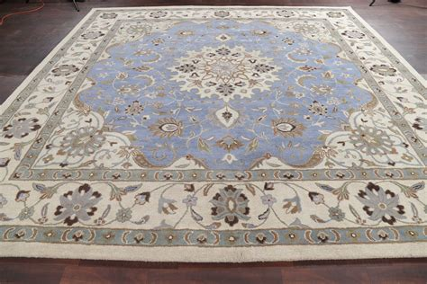 10 square rugs blue light blue floral square 10x10 kashan area rug