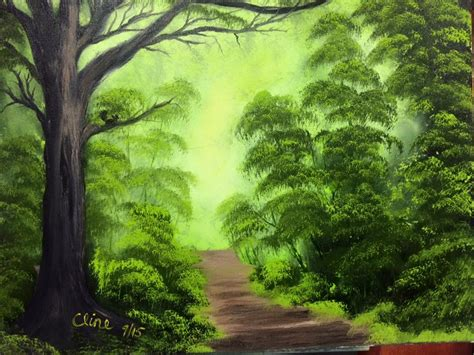 bob ross painting enchanted forest paintings happy paintings