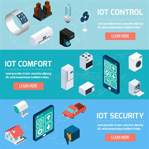 comfort security iot household isometric banners set stock vector image