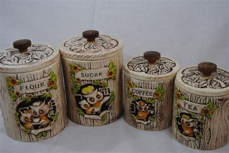 owl canisters for the kitchen adorable treasure craft owl kitchen canisters set of 4