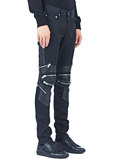 biker pants lyst saint laurent denim biker pants in blue for men