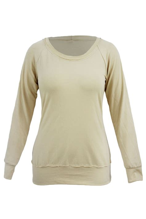 Neck Sleeve Sweatshirt khaki scoop neck sleeve sweatshirt for