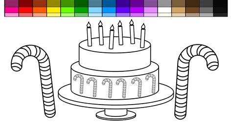 christmas cake coloring page learn colors for kids and color candy cane christmas cake