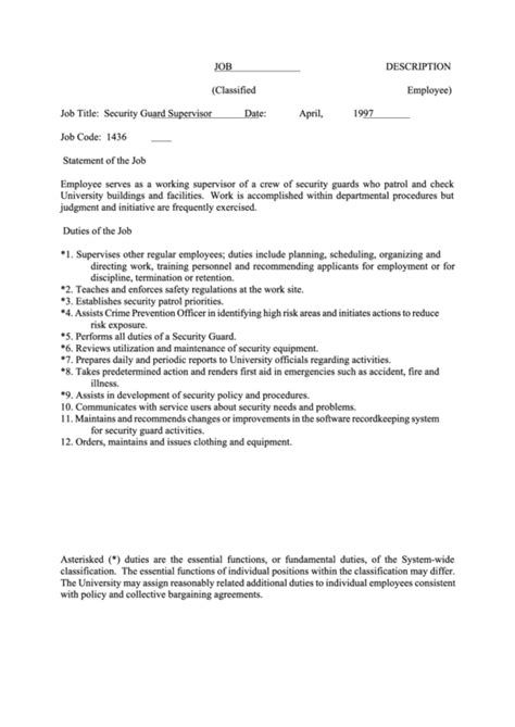 security guard supervisor job description – 50+ Best templates
