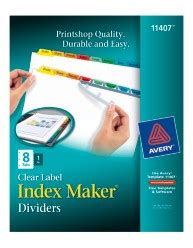 Index Maker Clear Label Dividers With Color Tabs 11407 8 Tab Set Avery Index Labels Templates
