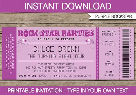 concert ticket invitations template 8 best images of free printable ticket invitation free