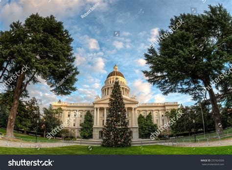 sacramento capital christmas decorations fisheye view california state capitol building stock photo 237424339