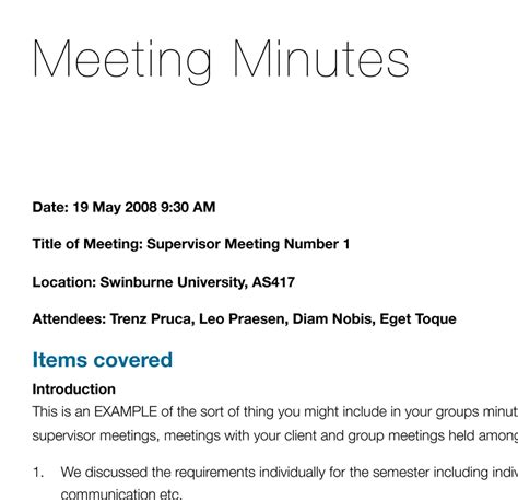 template of minutes of meetings exles minutes of meeting sle template