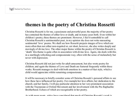 themes in modern english poetry themes in the poetry of christina rossetti university
