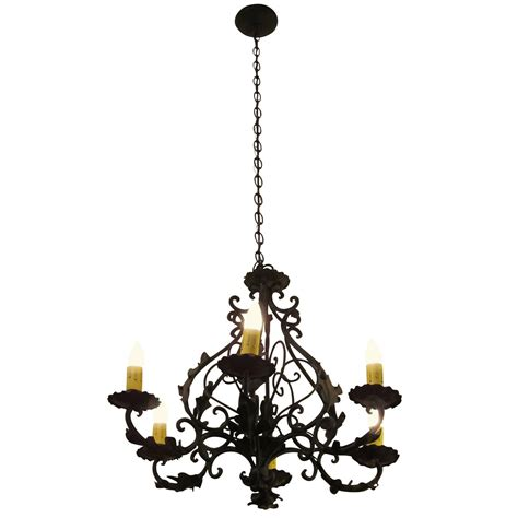 Black Iron Chandelier 1980s Black Iron Six Light Chandelier With Leaves For