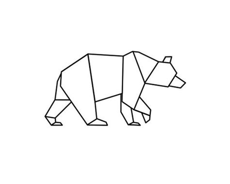 geometric line art tutorial simple outline geometric walking bear tattoo design