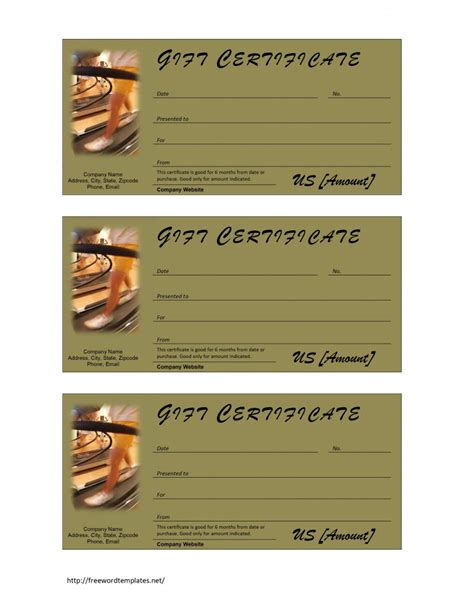 Fitness Gift Certificate Template Fitness Gift Certificate Template