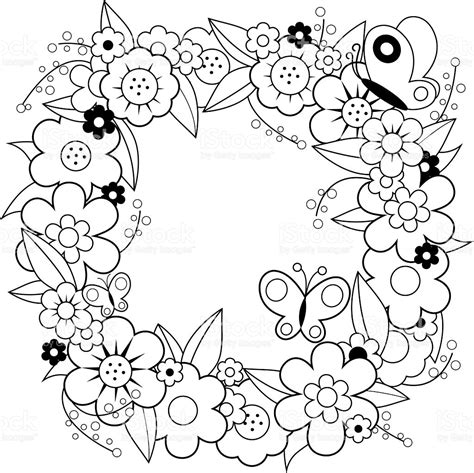 flower wreath coloring page flower wreath coloring book page stock vector art more