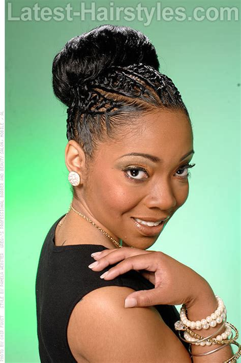 images of black braided bunstyle with bangs in back hairstyle black updo hairstyles with twists and humps google