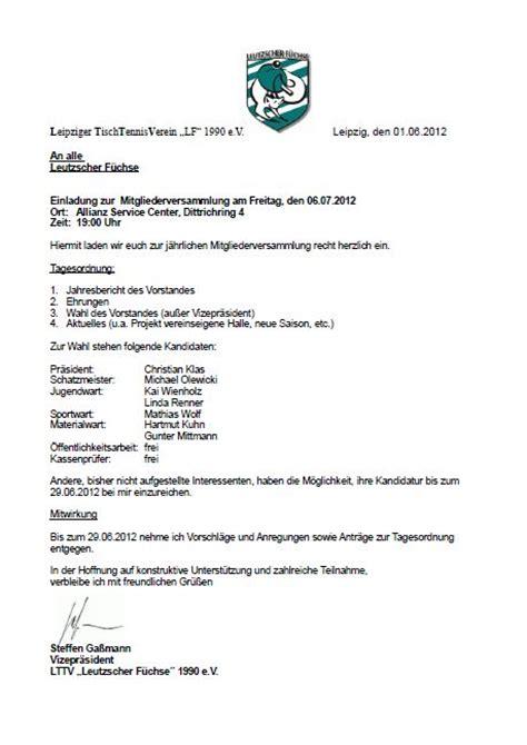 Muster Einladung Zur Jahreshauptversammlung Verein Leipziger Tischtennisverein Leutzscher F 252 Chse E V Einladung Zur Mitgliederversammlung
