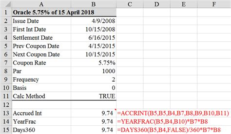 Calculate Accrued Interest On A Bond In Excel 3 Ways Tvmcalcs Com Accrual To Excel Template