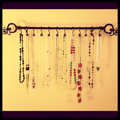 jewelry curtains curtain rod and shower hooks used as a jewelry holder