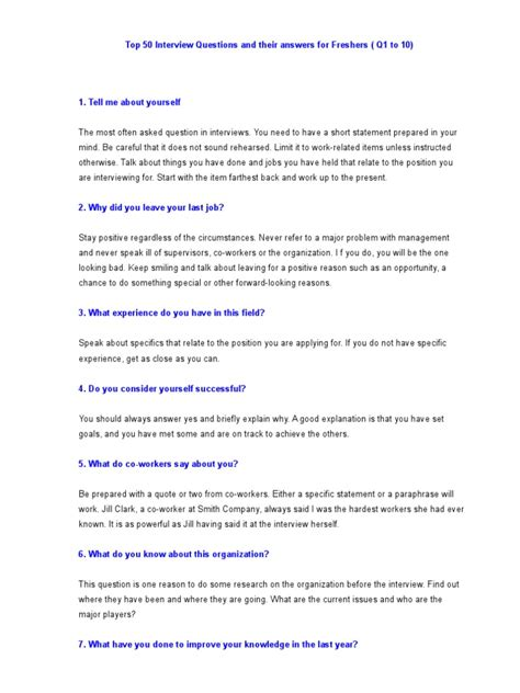 best biography interview questions top 50 interview questions and their answers for freshers