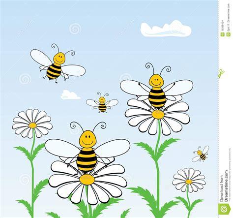 disegni sui fiori api sui fiori illustrazione vettoriale illustrazione di